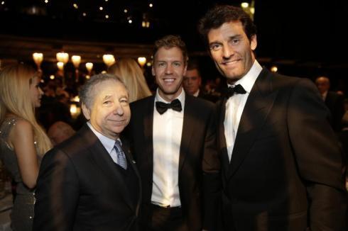 Jean Todt, junto a Mark Webber y Sebastian Vettel
