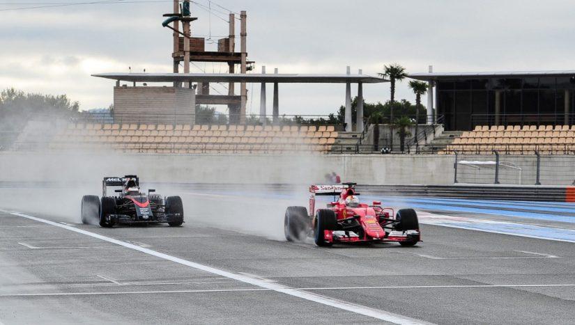 Vandoorne y Vettel, durante la segunda jornada de tests de Pirelli