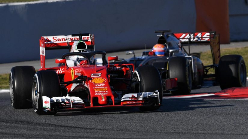 Sebastian Vettel, de nuevo el más rápido, con el HALO en su cockpit