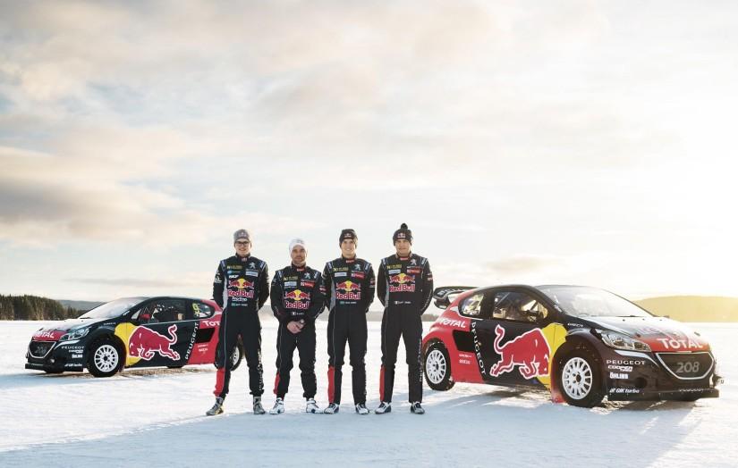 Los integrantes del equipo Peugeot Hansen del Mundial de Rallycross 2016