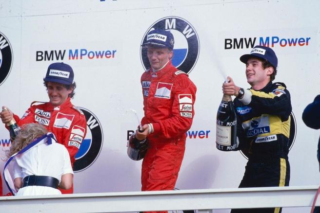 Podium del último GP de los Países Bajos, disputado en 1985