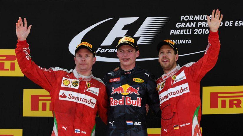 Podium del GP de España con Max Verstappen como protagonista