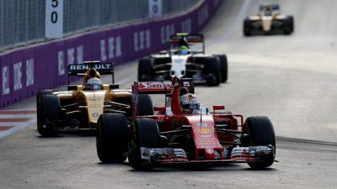 Sebastian Vettel, celebrando su inesperado segundo puesto