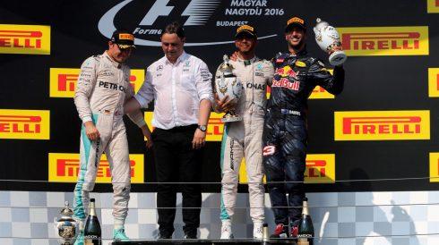 Podium del GP de Hungría, de nuevo con Hamilton en lo más alto