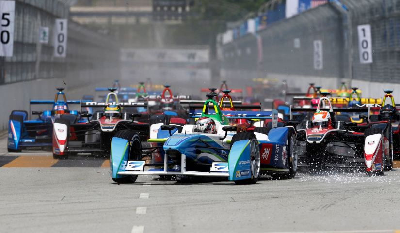 Drivers leave the starting grid during the Formula E Championship race in Putrajaya