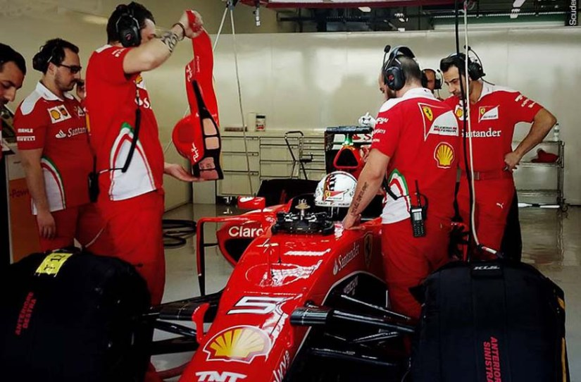 Sebastian Vettel, esperando para rodar con los compuestos de 2017 en su monoplaza