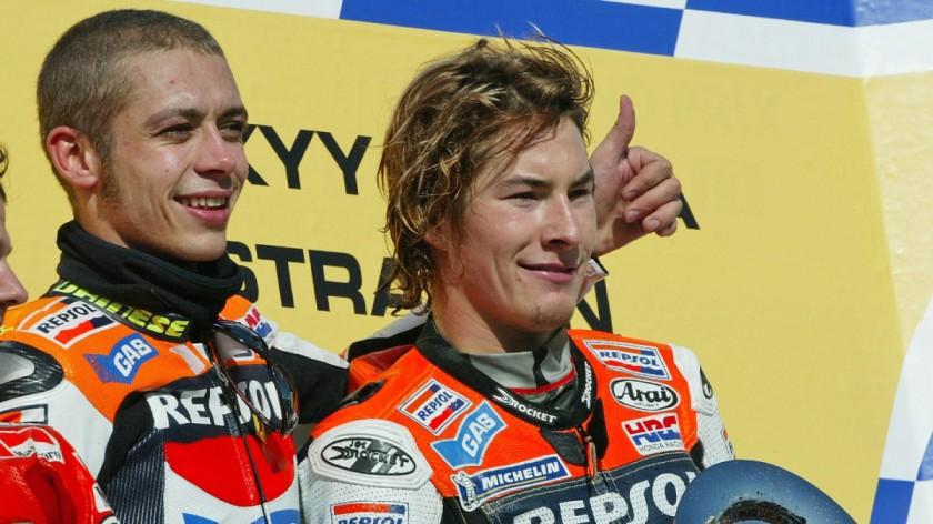Nicky Hayden junto a Valentino Rossi en su temporada de debut en MotoGP