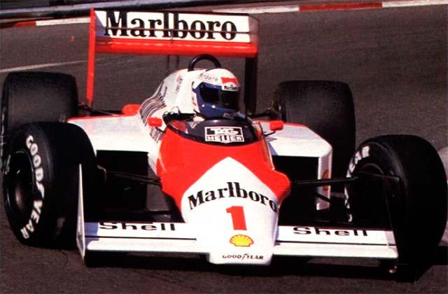Alain Prost, a bordo del último McLaren motorizado por Porsche en 1987