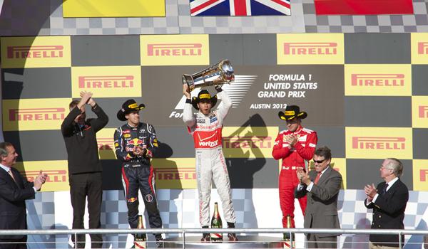 Primer podium del GP de EE.UU. en Austin (2012)