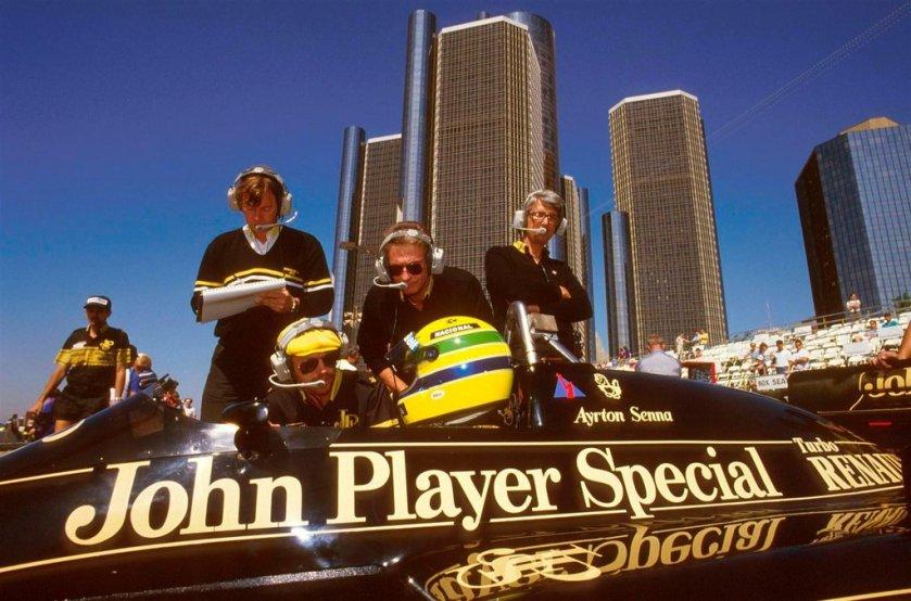 Ayrton Senna, durante el GP de EE.UU. en Detroit en 1986